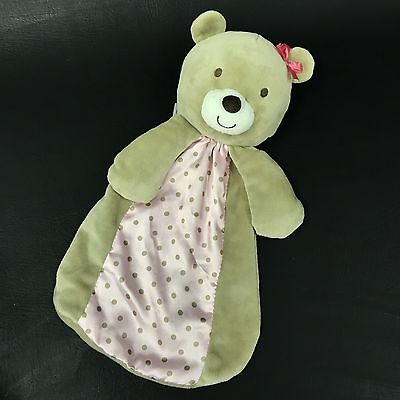 Carters Just One You Plush Bear Rattle Pink Brown Polka Dot Security Blanket G6