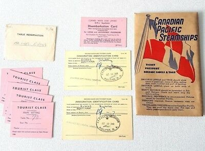 Vintage 1949 Lot~CANADIAN PACIFIC STEAMSHIP~Table Reservation, immigration
