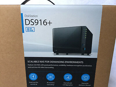 Synology DiskStation DS916+ 4 Bay Diskless NAS Quad Core 1.6GHz 8GB RAM DS916+8G