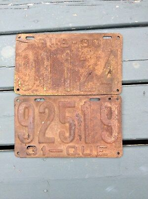 Quebec 1930 and 31  license plate