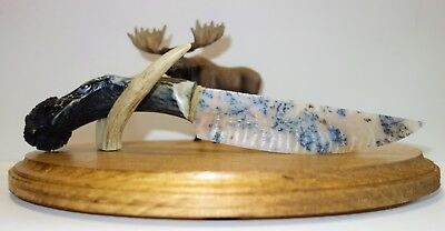 "Amazing 11.5"" Sage Agate Knapped by Cliff Carney Blackfoot, on Carved Handle"