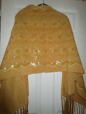 ladies large wrap gold embroidered with fringe