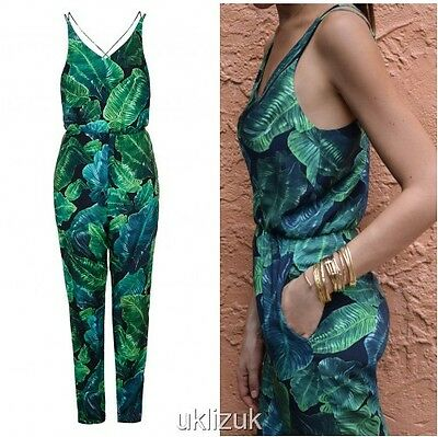 0e77a230be TOPSHOP BLOGGER PALM Leaf Print Tropical Jumpsuit Playsuit - Size 6 ...