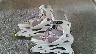Roller blades UK size 4-7 Roces. Lilac/white with butterfly pattern.