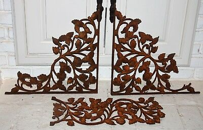 Large Pair Architectural Salvage Cast Iron Rusty Metal Corbels 18x18