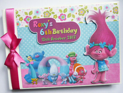 Personalised Trolls Birthday Guest Book - Any Design