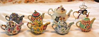 8 Diff Mini Teapots,2-Mary Engelbreit,4-Two's Company Chintz,1-Crown Windsor