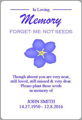 Personalised Forget Me Not Seeds Stickers In Loving Memory Remembrance Labels