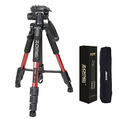 Zomei Q111 Professional Aluminium Tripod Stand for DSLR Canon Nikon Camera - Red