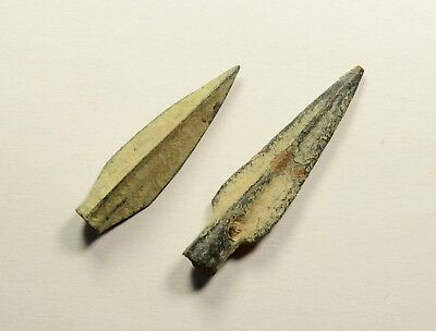 DESERT PATINA - Ancient Greek Scythian Arrow Head Bronze 5th c BC - LOT OF 2