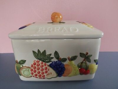 Vintage Rayware Country Kitchen Bread Bin ~ Moulded Fruit Decoration