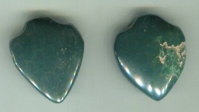 African Trade beads 2 old green agate stone bead pendents Ghana