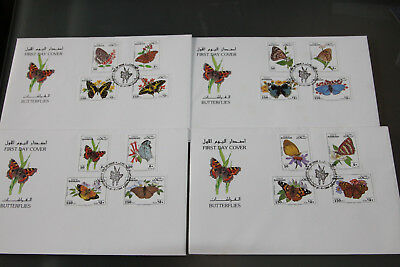 Bahrain - 1994 Butterflies - Complete Set On 4 First Day Covers