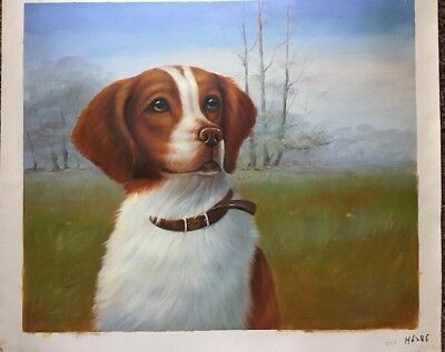 """Original Oil Painting Of A French Brittany Hunting Dog 20"""" X 24"""" Unstretched"""