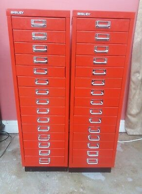 Pair Of 15 Drawer Bisley Filing Cabinets
