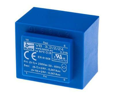 Block 230V AC to 2 x 24V AC 2 Output Through Hole PCB Transformer, 3.2VA