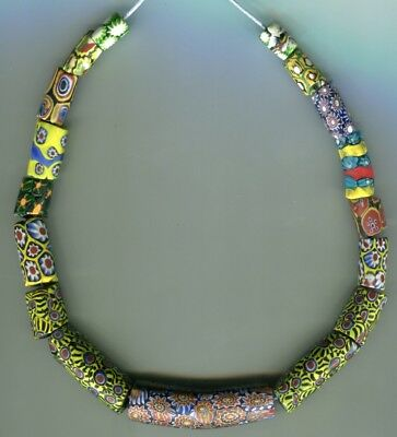 African Trade beads Vintage Venetian old glass beads mixed millefiori with chips