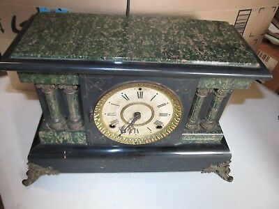 Seth Thomas Green Adamantine Mantle Clock w/ Columns - For Parts or Repair
