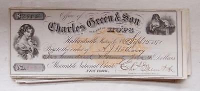 Antique HOPS Check Charles Green & Son DEALERS IN HOPS - Beer Brewery Ephemera