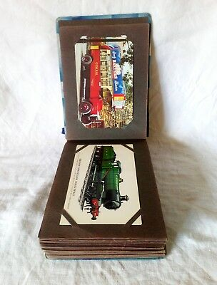 Small Vintage Postcard Album With 61 Transport Related Postcards Trains, Buses,