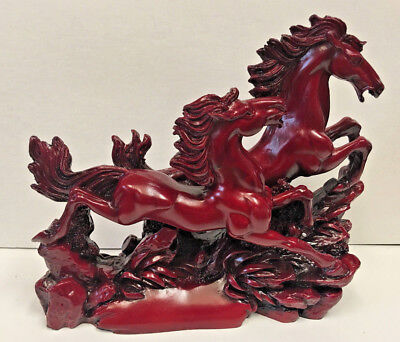 """Carved Red Resin Two Wild Stallions Running Statue – NEW – 8"""" x 6 1/2"""""""