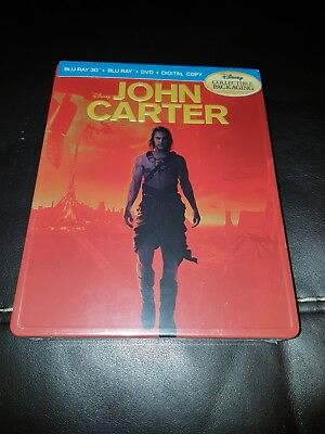 John Carter Blu Ray 3D Exclusive Disney MetalPak (like Steelbook ) RARE OOP