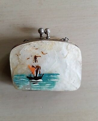 Antique Vintage Mother of Pearl Shell Concertina Hand Painted Coin Purse