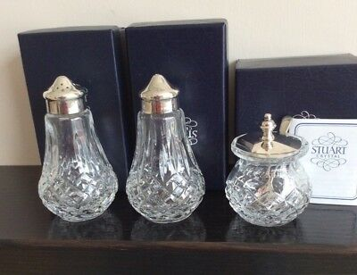 Stuart Crystal Boxed Cruet Set, Salt Pepper And Mustard