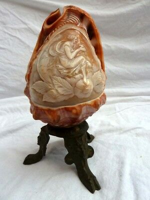 Antique Hand Carved Conch Cameo Shell Lamp  classical goddess with dove