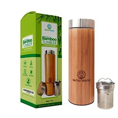 Bamboo Tumbler with Tea Infuser 17oz Stainless Steel Water Bottle Coffee Mug