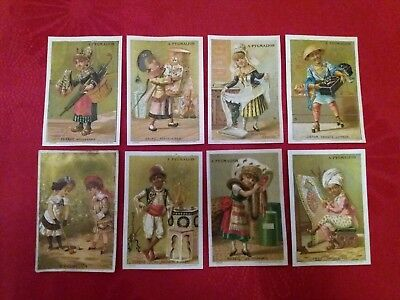Lot Chromos Dorees Anciennes-Pygmalion-Lith Sicard- Personnages Pays Costumes