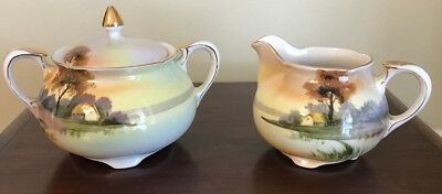 Nippon Hand Painted Creamer and Sugar Set