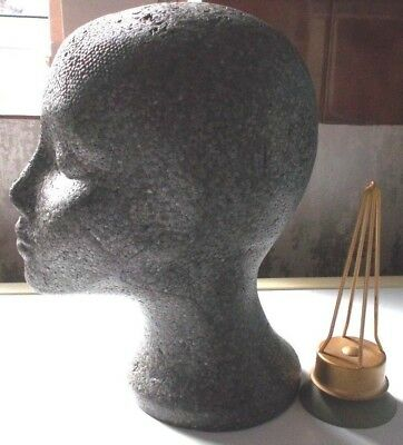 Black Female Styrofoam Mannequin Head 29cm with suction stand + 6cm