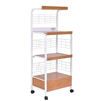 3 Shelves Rolling Kitchen Microwave Storage Utility Cart Stand Drawer Wheels