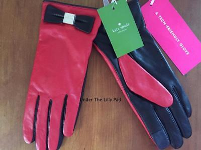 NWT $128 KATE SPADE Leather BOW GLOVES Sz SMALL Red/Black Tech NEW ~SALE 70% OFF
