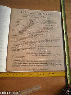 """1987 US Constitution Bill of Rights facsimile w/story on parchment 16x13"""""""