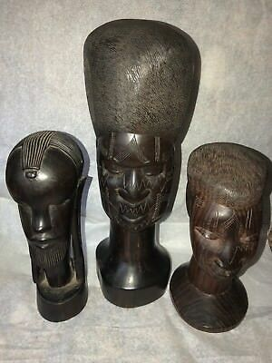 Hand Wood Carved Head Tribal Face Statue African Vtg Ironwood Heavy Etched Nice