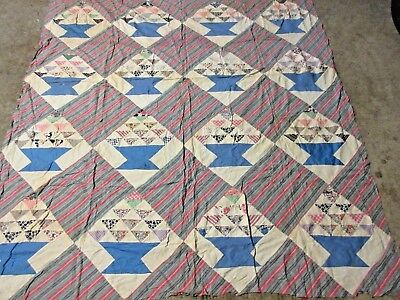 "Vintage Hand Stitched Feed Sack BASKET Pattern Quilt TOP 81"" x 77"""