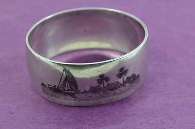 vintage Egyptian sterling silver oval napkin ring neillo Dhow decorated signed