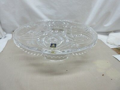 Vintage Lead Crystal Clear Glass Germany Cake Plate Stand Buzzstar Design