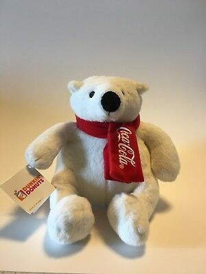 "2015 MY COKE REWARDS Coca-Cola Dunkin Donuts 8"" POLAR BEAR Plush FACTORY Tags"