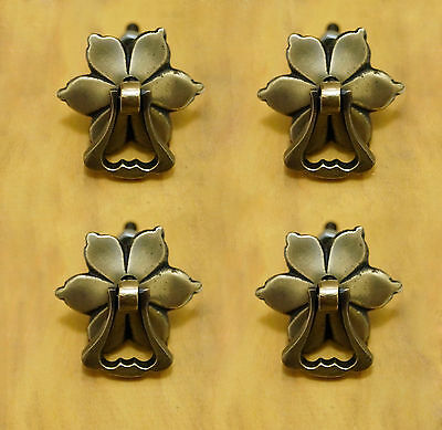 SET OF 4 PCS VINTAGE ANTIQUE BRASS FLOWERS Classic Handle Cabinet Drawer PULL