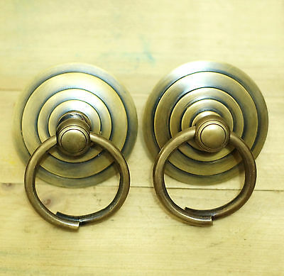 Set of 2 pcs Vintage Brass Big Round Swirl Pull Cabinet Drawer Door KNOB Pulls