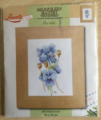 Embroidery - blue violet stitched picture- new