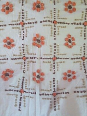 33x51 vintage hand tufted chenille bedspread perfect (tan, brown, orange)