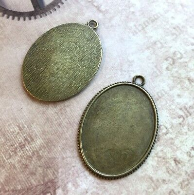 Pack of 4 - Antique bronze Solid Big Oval Cabochon base setting