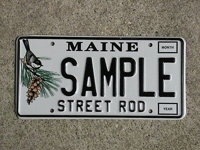Maine STREET ROD Sample License Plate Chickadee Base Mint