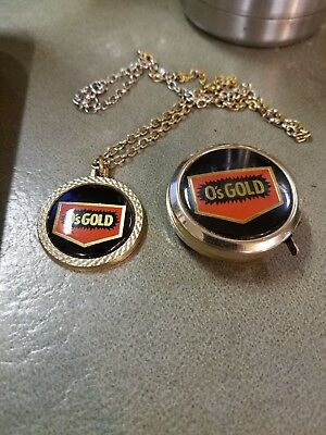 VINTAGE O's GOLD SEED TAPE MEASURE NECKLACE RARE GREAT SHAPE VINTAGE