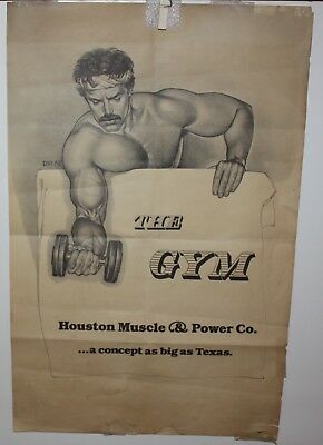 "The Gym Houston Muscle & Power Co.  TX Vintage 70's  Paper Sign 14"" x 22"" Fair"