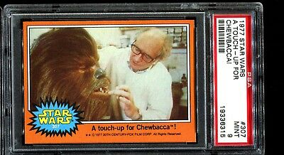 1977 Topps Star Wars Orange Series 5 #307 A TOUCH-UP FOR CHEWBACCA! PSA 9 MINT a